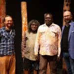 (From left to right) Alex Ressel (Manager of Injalak Arts), artist Joe Guymala, artist Gabriel Maralngurra and Henry F. Skerritt (Curator, Kluge-Ruhe Aboriginal Art Collection) at The Inside World exhibition at The Fralin Museum of Art.